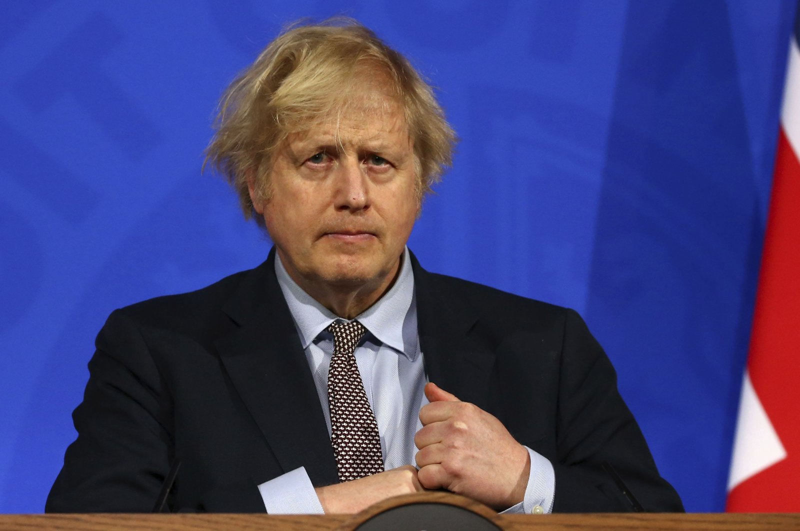 Britain's Prime Minister Boris Johnson attends a media briefing on COVID-19 from Downing Street's media briefing room in London, U.K., March 29, 2021. (AP Photo)
