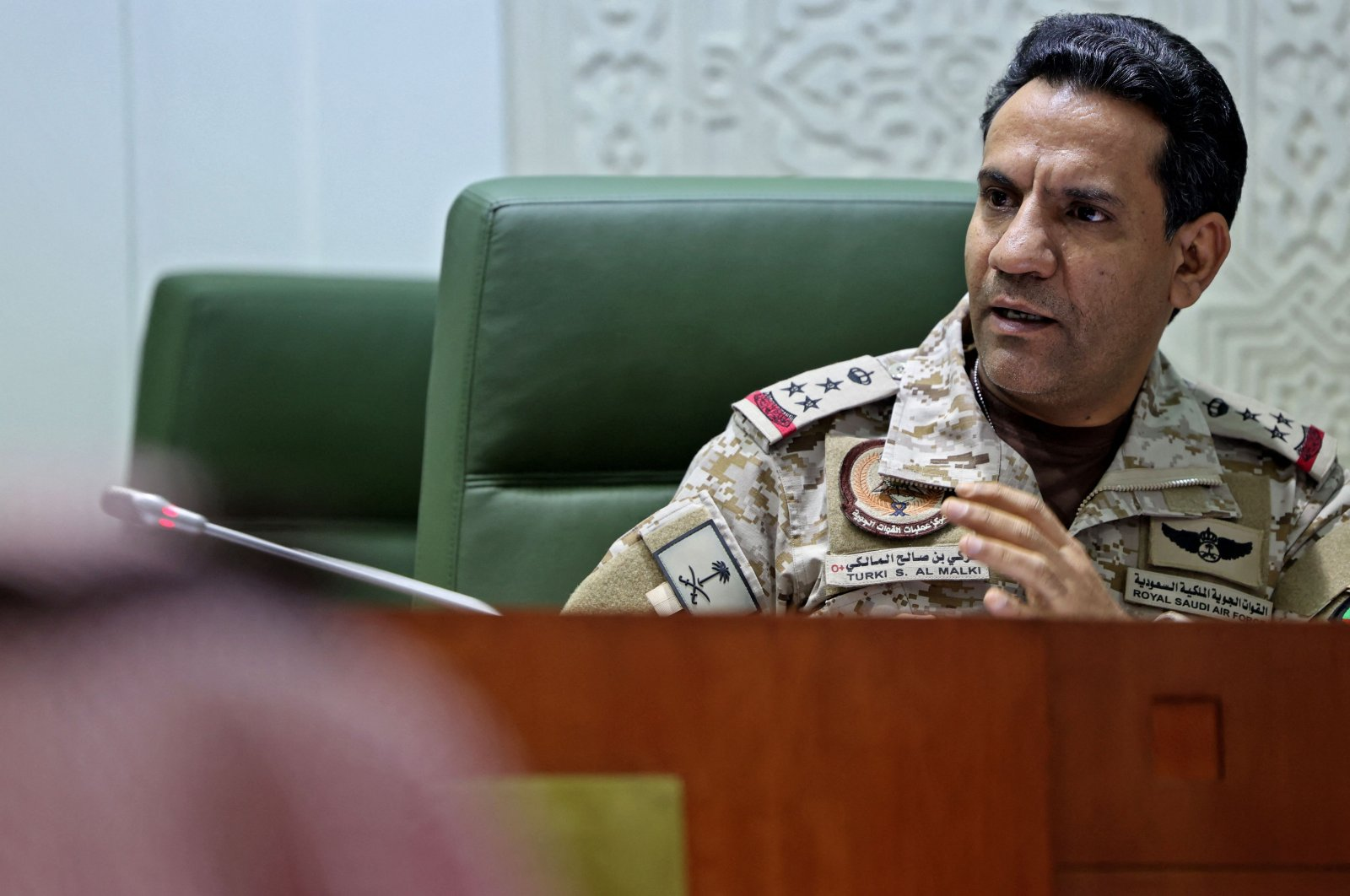 Spokesperson of the Saudi-led military coalition in Yemen Colonel Turki al-Maliki speaks during a press conference in the capital Riyadh, Saudi Arabia, March 22, 2021. (AFP Photo)