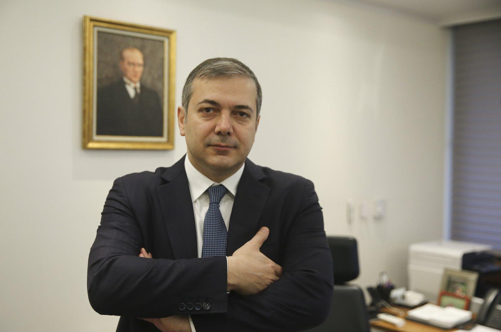 Central Bank of the Republic of Turkey (CBRT) Deputy Governor Murat Çetinkaya is seen at this office in the capital Ankara, Turkey, Feb. 11, 2020. (AA Photo)