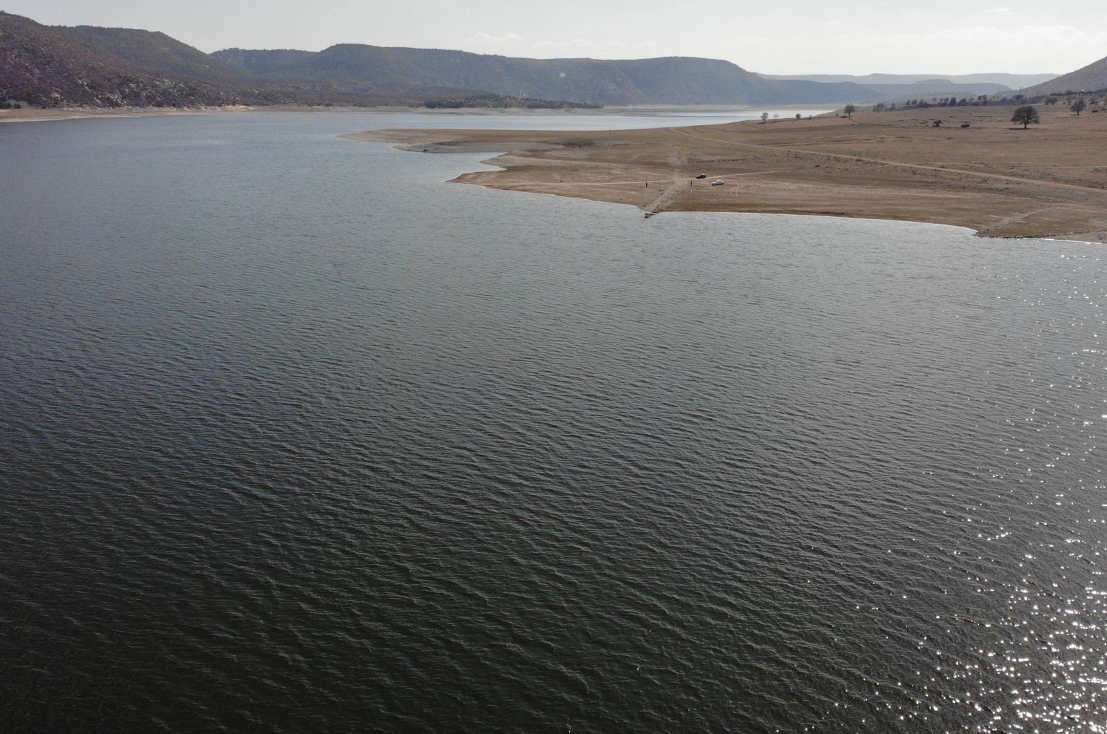 A view of Porsuk Dam where water levels rose after a long dry spell, in Kütahya, western Turkey, March 30, 2021. (IHA Photo)