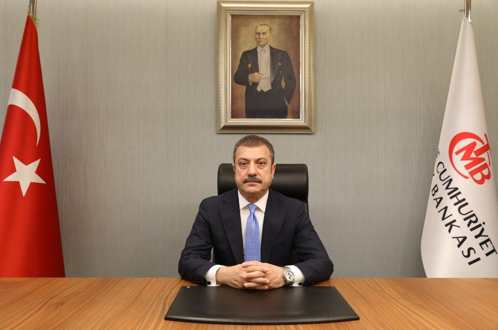 Central Bank of the Republic of Turkey (CBRT) Governor Şahap Kavcıoğlu sits in his office in the capital Ankara, Turkey March 21, 2021. (CBRT via AA)