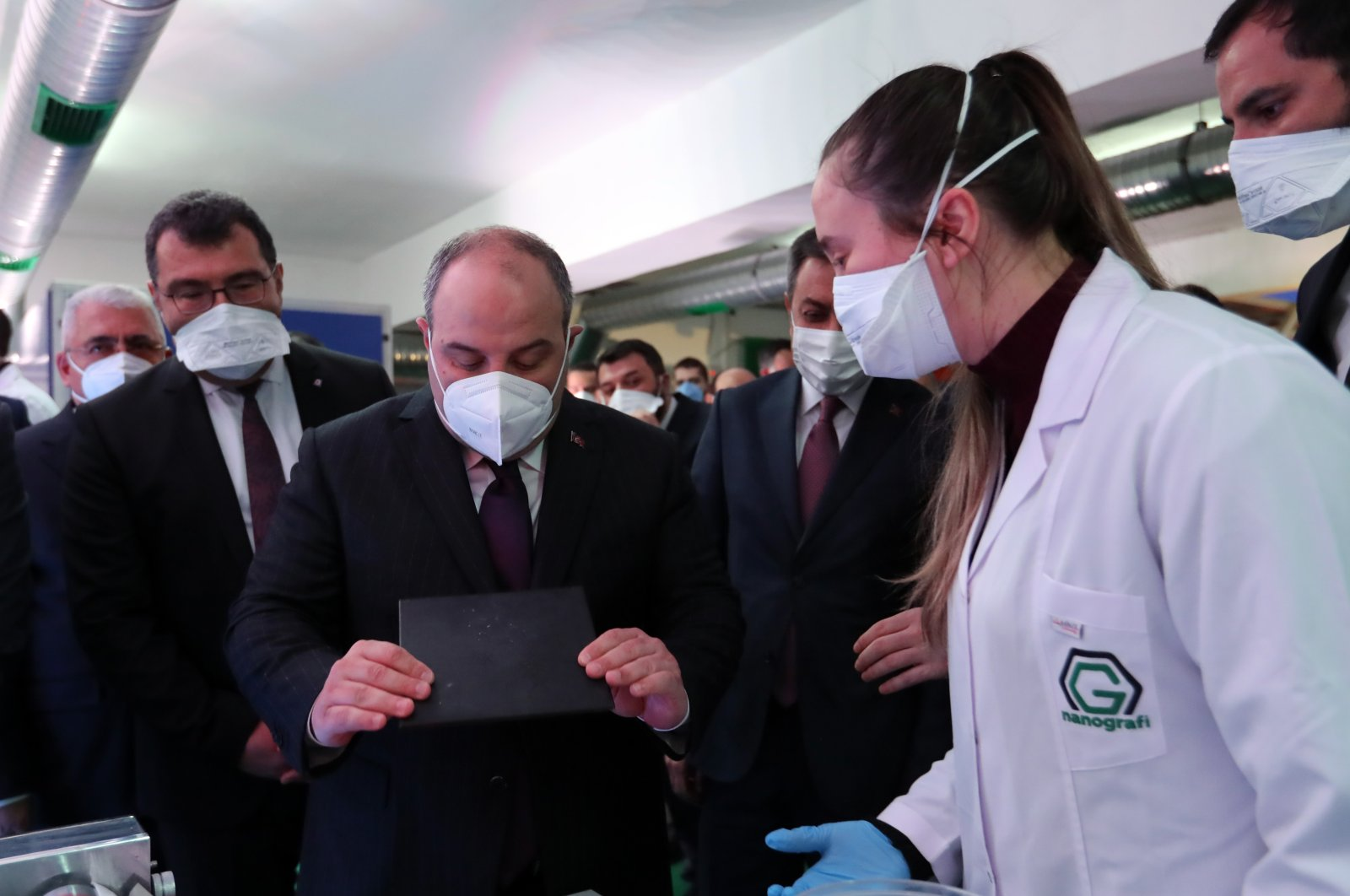 Industry and Technology Minister Mustafa Varank on the sidelines of the opening ceremony of Nanografi'snew graphene production plant, Ankara, Turkey, March 30, 2021. (Industry and Technology Ministry Photo via AA)