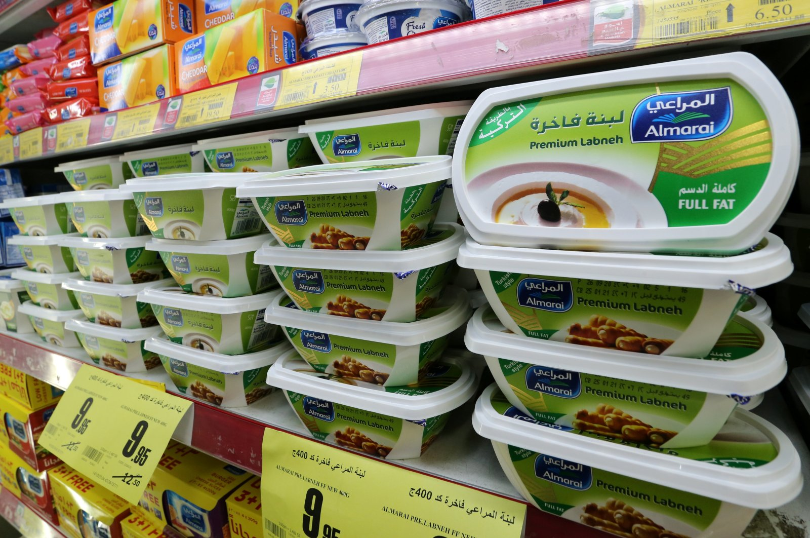 Saudi dairy products are displayed at a supermarket after Saudi Arabia's retail stores urged customers to boycott Turkish products, in Riyadh, Saudi Arabia, Oct. 18, 2020. (Reuters Photo)