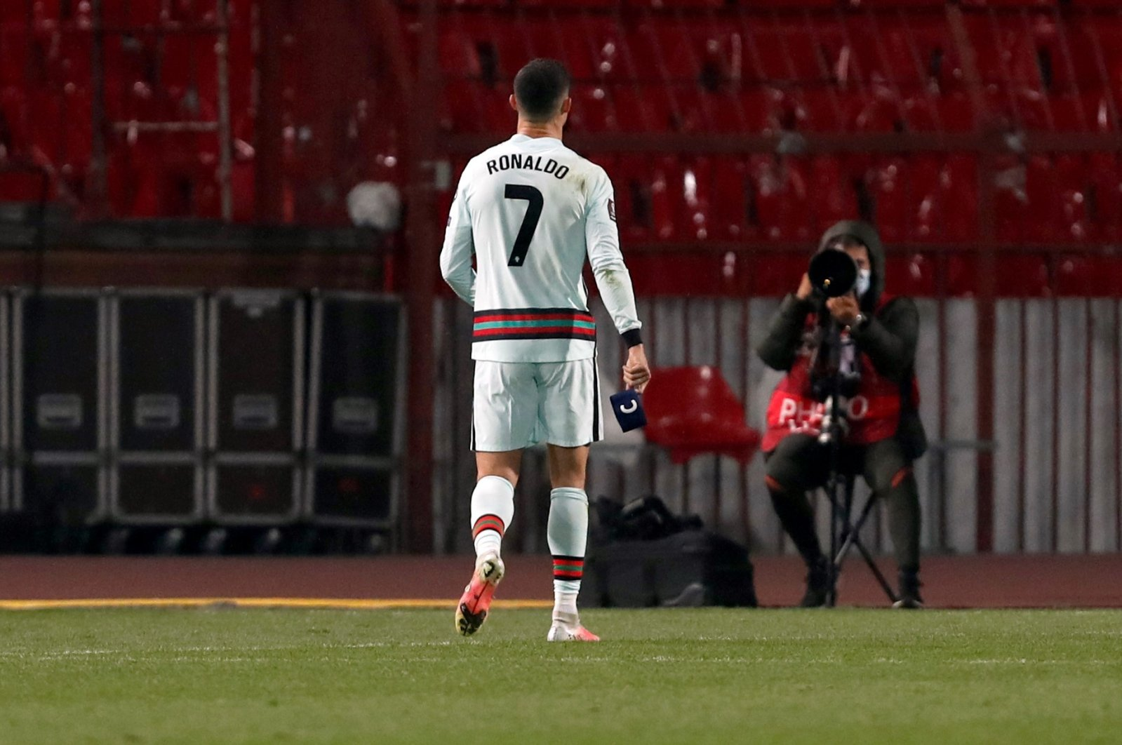 Portugal's Cristiano Ronaldo holds the captain's armband (R) during the World Cup 2022 Group A qualifying match against Serbia at the Rajko Mitic stadium in Belgrade, Serbia, March 27, 2021. (AP Photo)