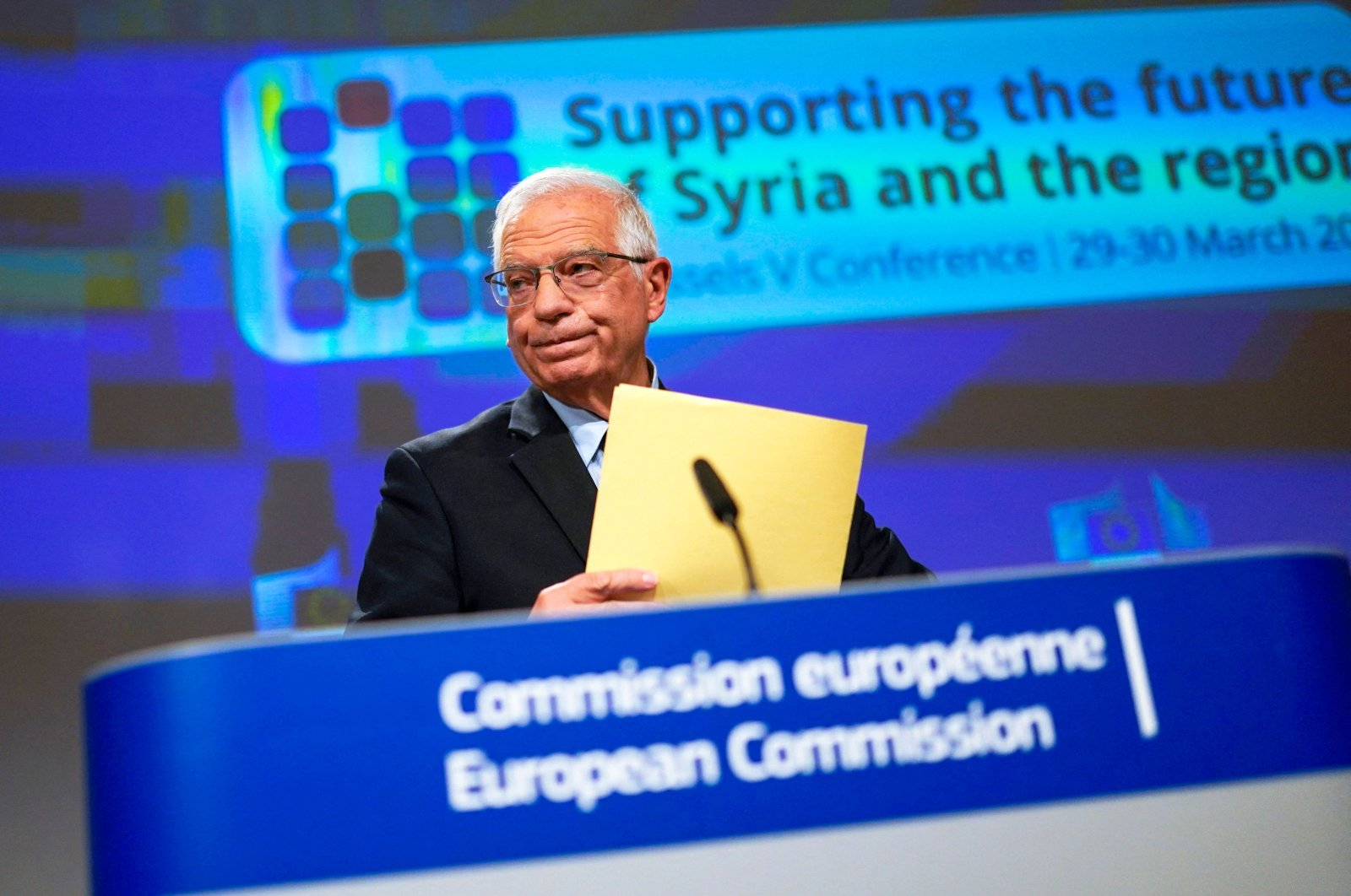 """European Union foreign policy chief Josep Borrell listens to a question during an online news conference at the conclusion of the conference """"Supporting the future of Syria and the region"""" at the European Commission headquarters in Brussels, Belgium, March 30, 2021. (Photo by Francisco Seco / POOL / AFP)"""