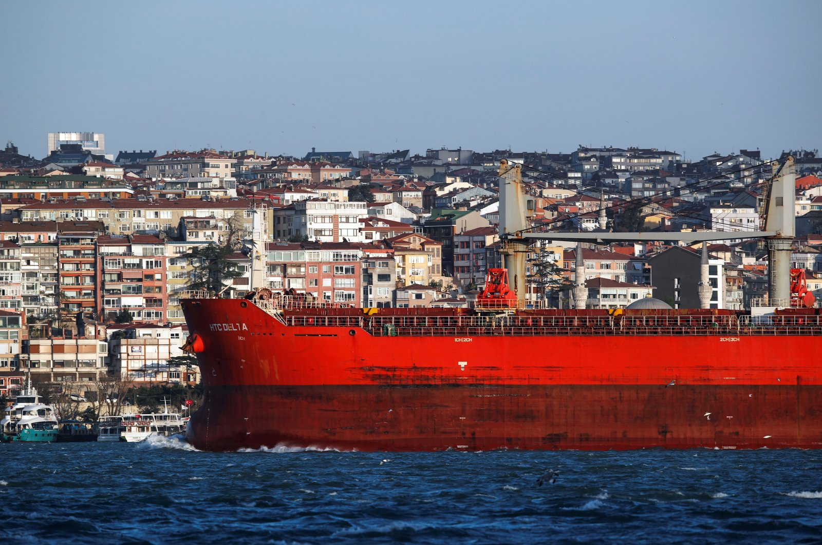 A commercial vessel sails through the Bosporus, on its way to the Black Sea, in Istanbul, Turkey, April 7, 2020. (Reuters Photo)