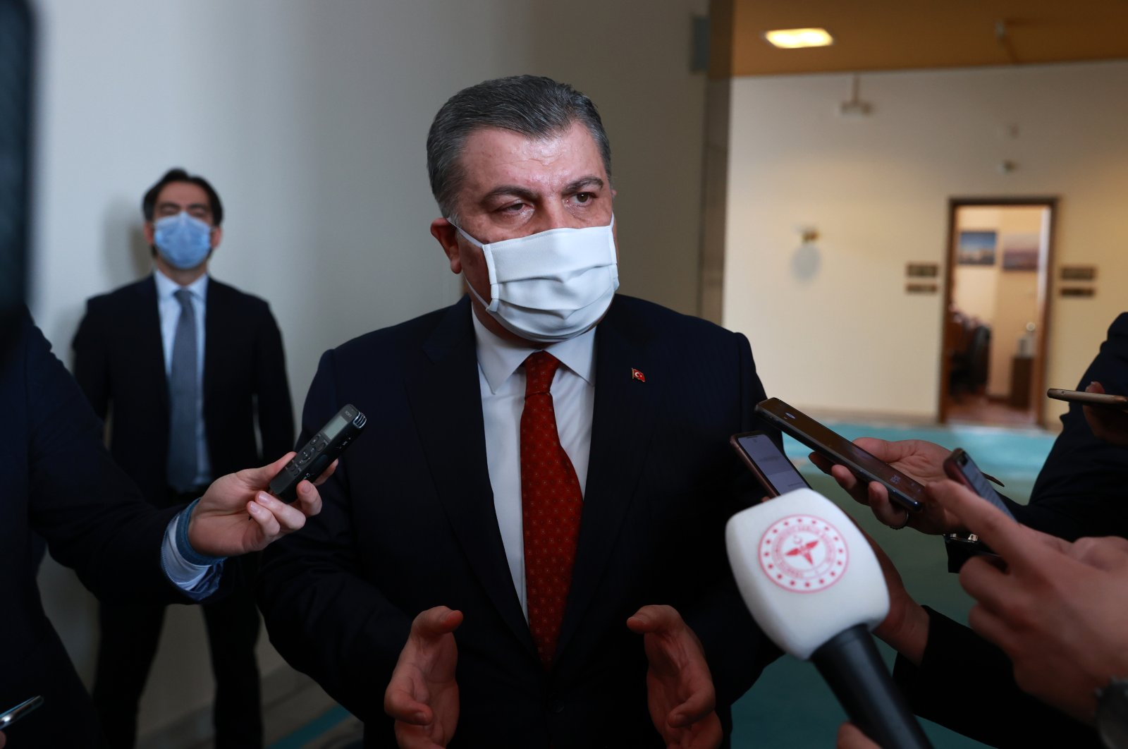 Health Minister Fahrettin Koca addresses reporters in the capital Ankara, Turkey, March 30, 2021. (AA Photo)