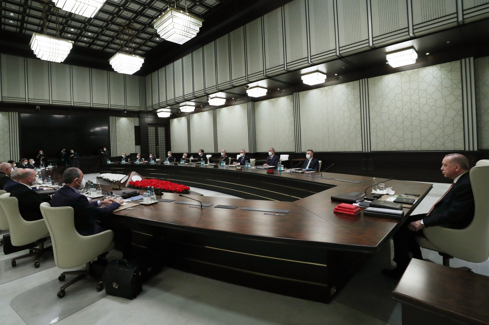 Turkey's National Security Council (MGK) meets under the chair of President Recep Tayyip Erdoğan (R) in the capital Ankara, Turkey, March 30, 2021. (AA Photo)