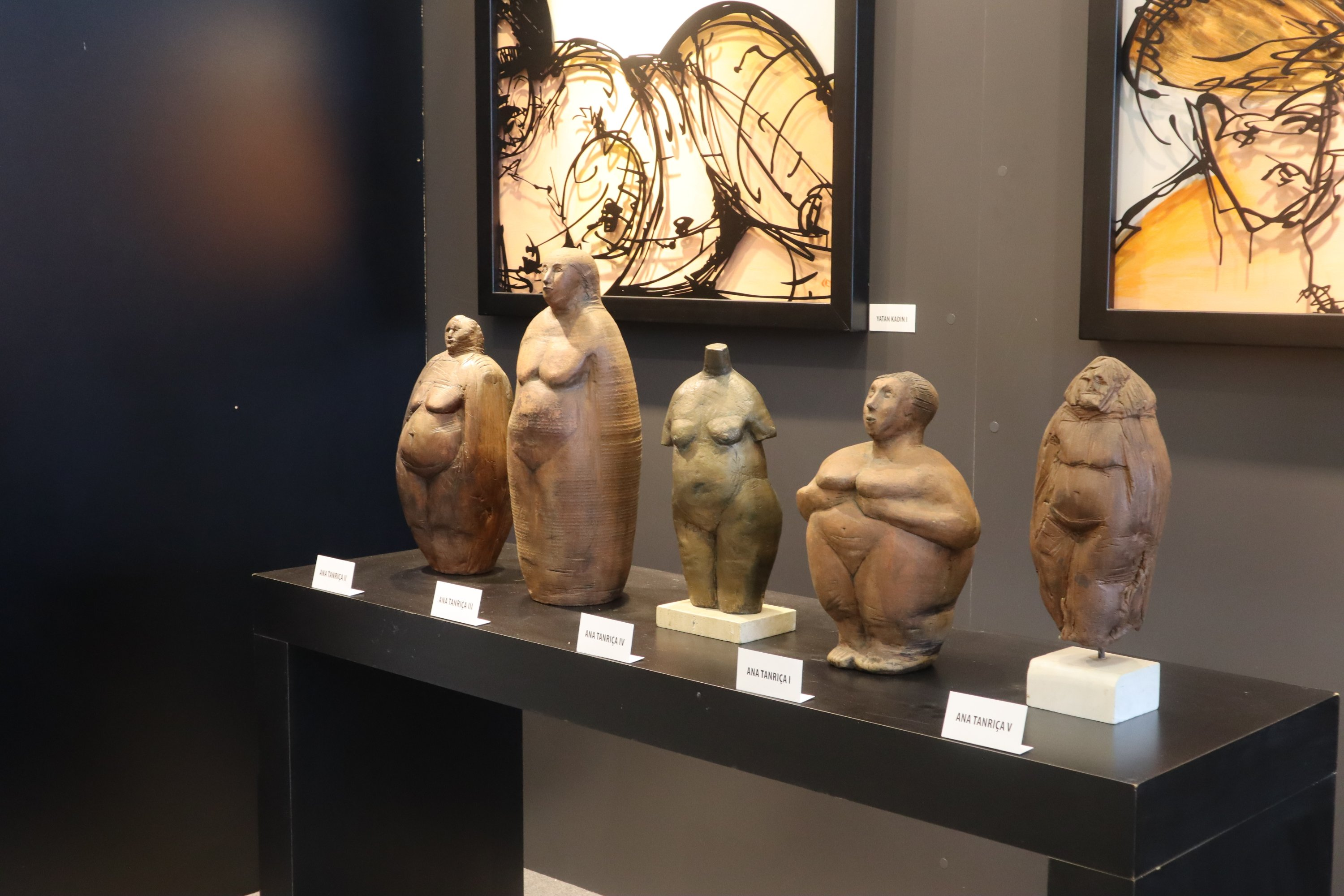 Various sculptures of mother goddesses by artist Cem Sağbil are seen in this photo at the contemporary art fair ARTANKARA, Ankara, Turkey, March 30, 2021 (Photo by Dilara Aslan)