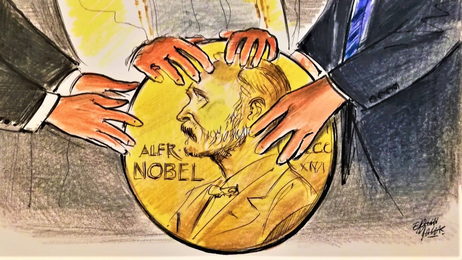 """In this illustration by Erhan Yalvaç, the Nobel Peace Prize resembles a symbolic """"orb,"""" on which former U.S. President Donald Trump, Saudi Arabia's King Salman and Egypt's usurper president, Abdel-Fattah el-Sissi lay their hands together to harbinger their renewed relations during a meeting in Saudi Arabia's Riyadh in 2017."""