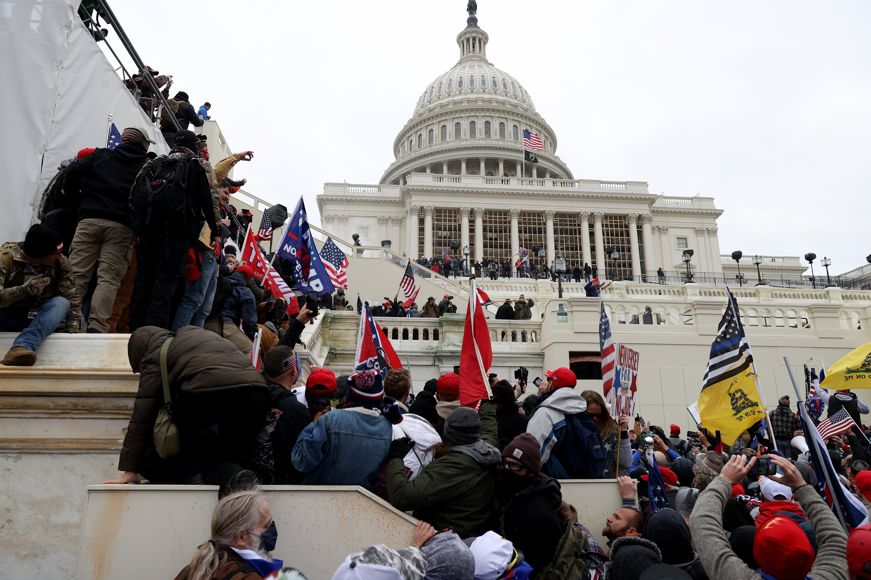 Pro-Trump protesters gather outside the U.S. Capitol Building, Washington, D.C., U.S., Jan. 6, 2021. (Photo by Getty Images)