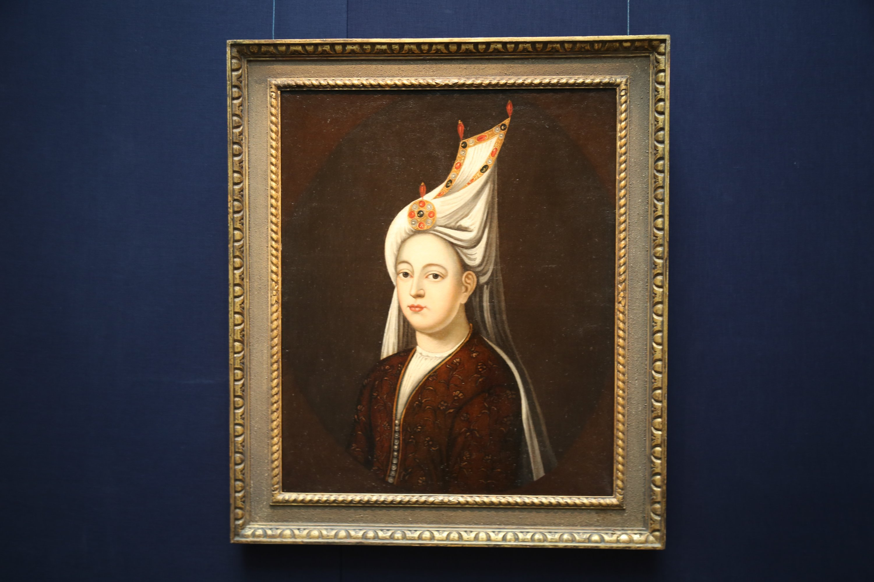 The portrait of Mihrimah Sultan on display at Sotheby's, London, U.K., March 31, 2021. (AA Photo)
