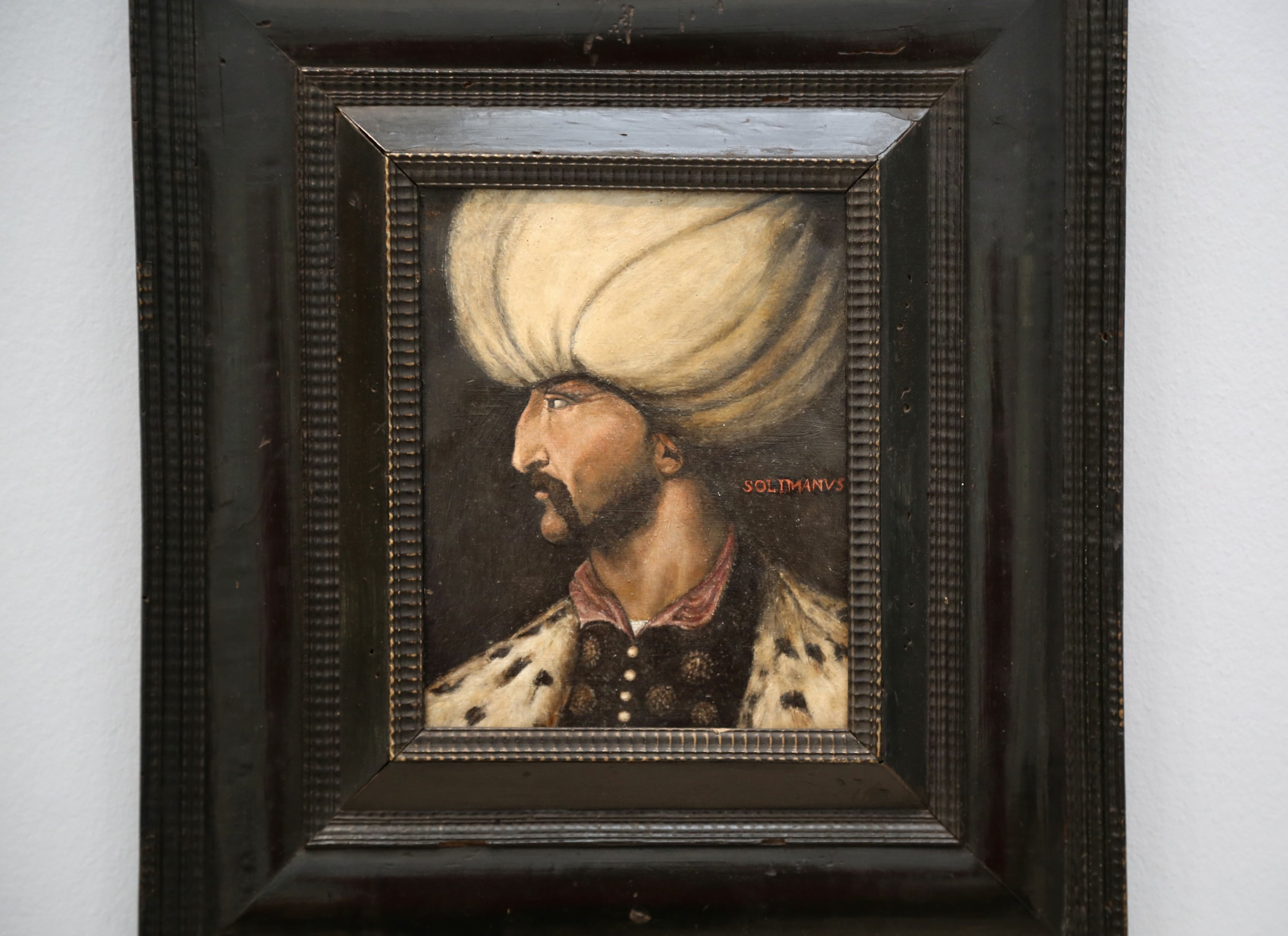 A close-up of the portrait of Ottoman Sultan Suleiman I at Sotheby's, London, U.K., March 31, 2021. (AA Photo)