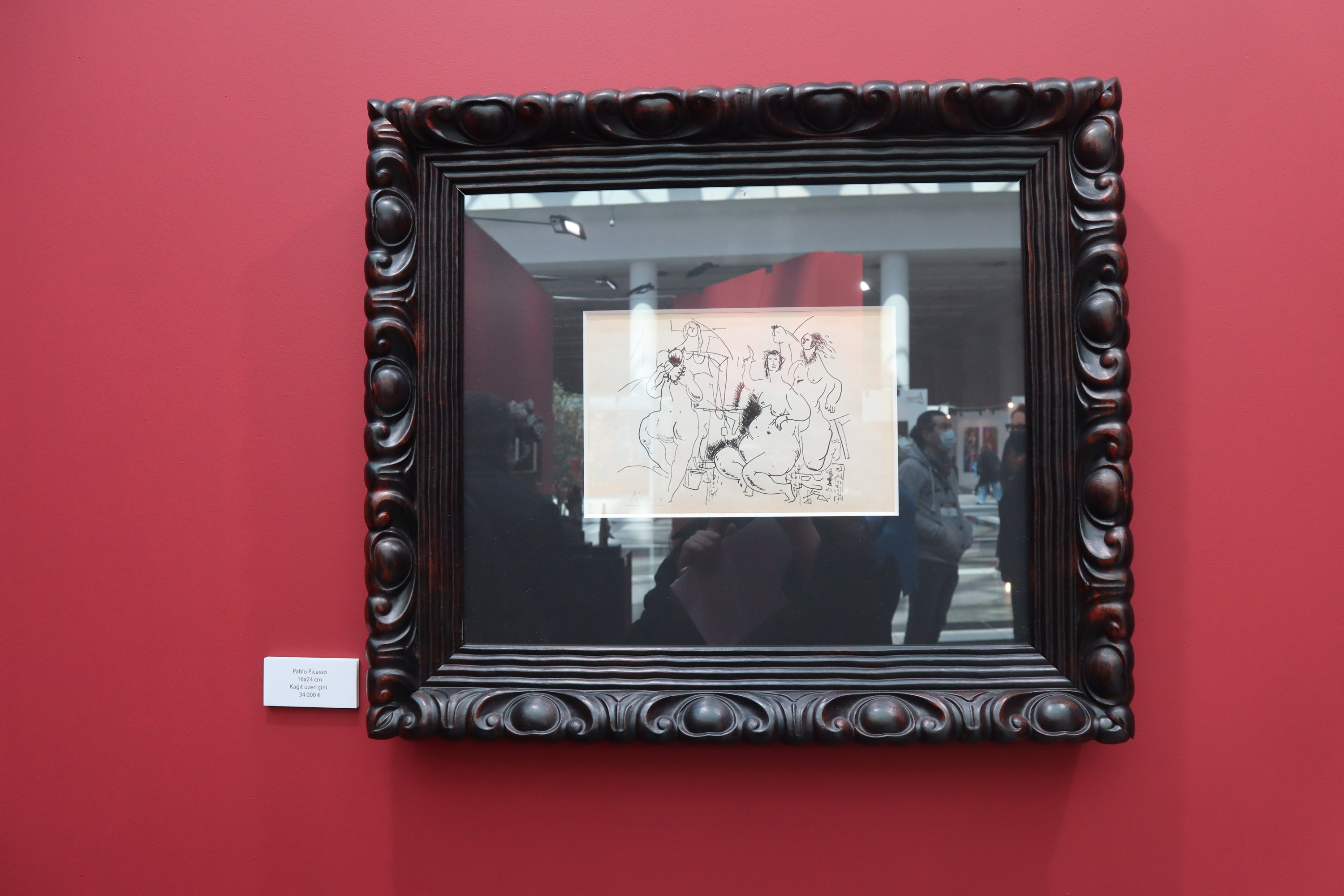 "Picasso's sketch of ""The Young Ladies of Avignon"" at ARTANKARA. (Photo by Dilara Aslan)"