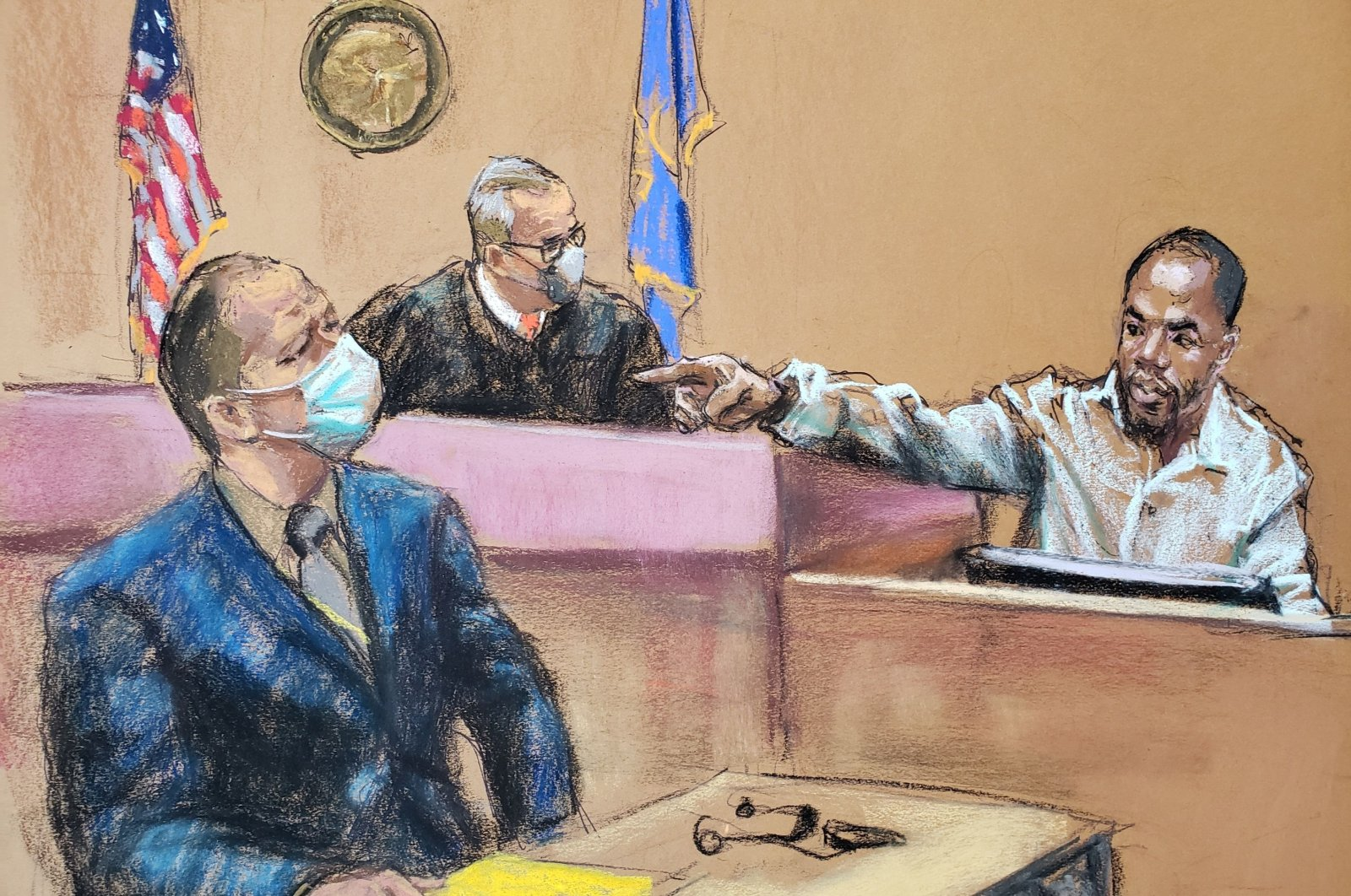 Witness Donald Williams points out Derek Chauvin, in this courtroom sketch, during the trial of the former Minneapolis police officer for the death of George Floyd in Minneapolis, Minnesota, U.S., March 30, 2021. (Reuters Photo)