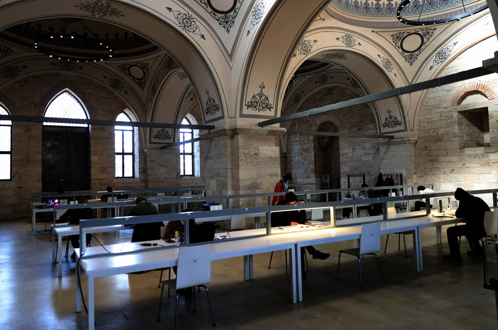 A view from the inside Beyazıt State Library, Istanbul, Turkey, March 28, 2020. (AA Photo)