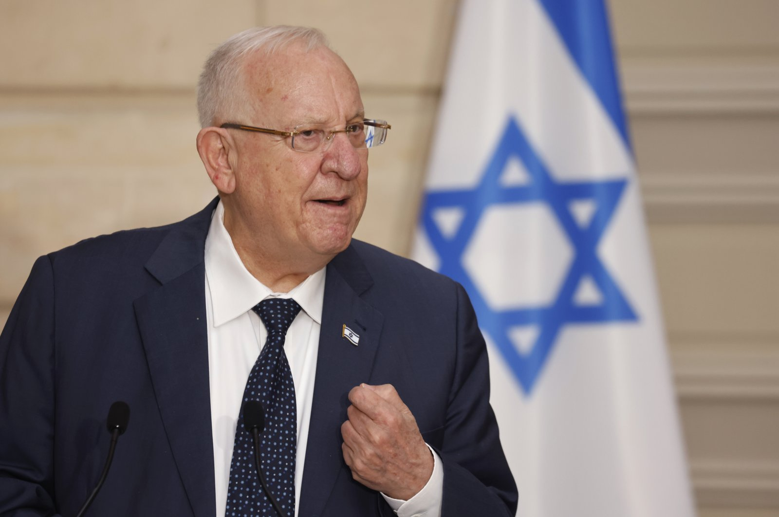 Israeli President Reuven Rivlin speaks during a joint press conference and working lunch with French President Emmanuel Macron, at the Elysee Palace, Paris, France, March 18, 2021. (AP Photo)