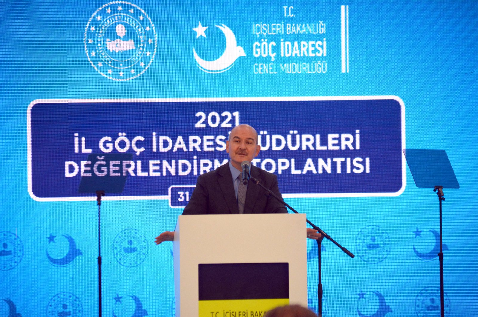 Interior Minister Süleyman Soylu speaks at a meeting on migration in western Balıkesir province, Turkey, March 31, 2021. (AA Photo)