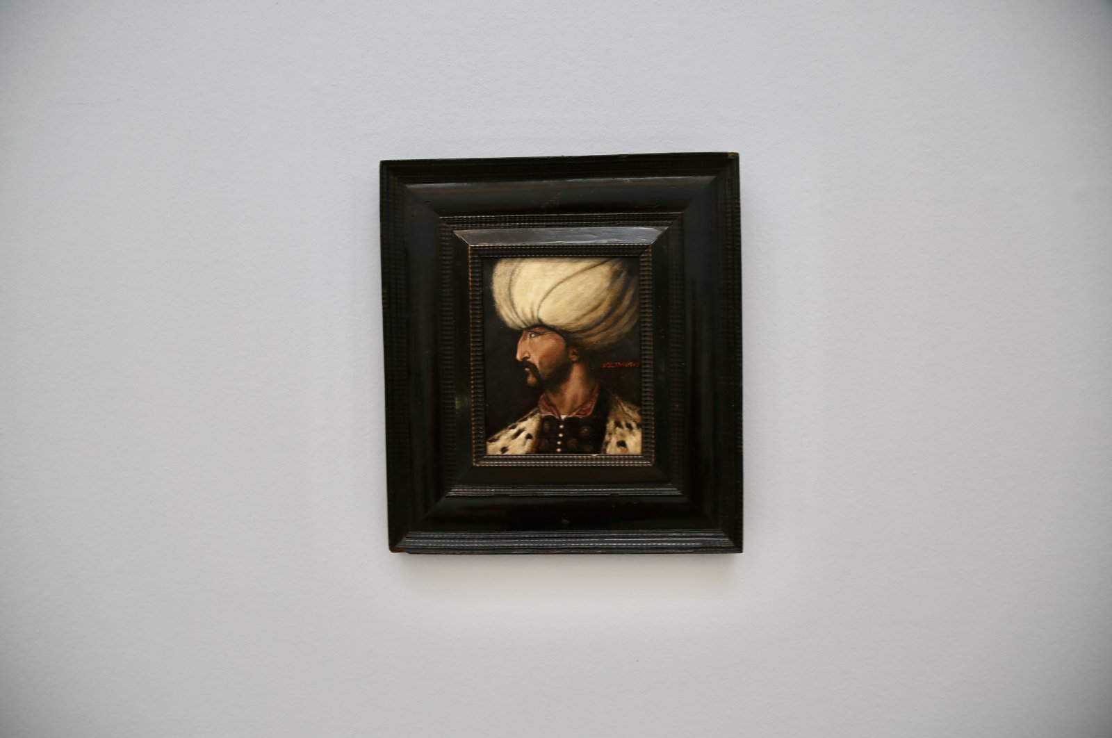 The portrait of Ottoman Sultan Suleiman I on display at Sotheby's, London, U.K., March 31, 2021. (AA Photo)