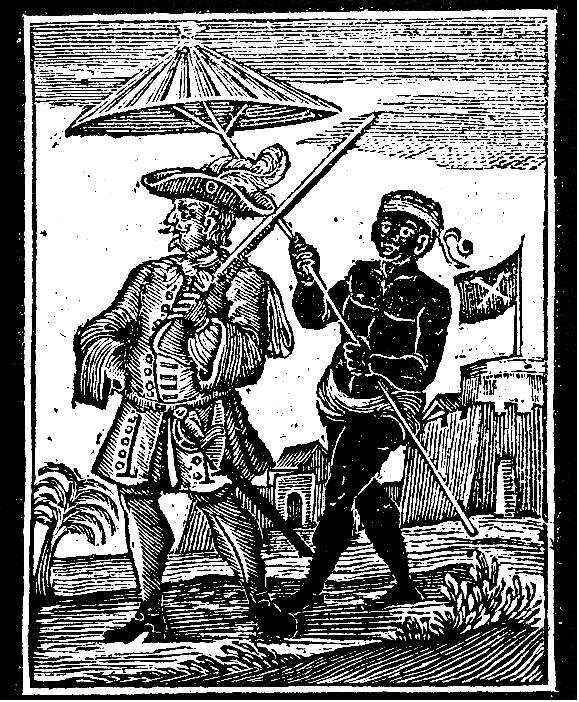 A woodcut showing pirate Henry Every that appears in Captain Charles Johnson's 'A General History of the Robberies and Murders of the most notorious Pyrates (London: Midwinter, 1725). Library of Congress. (via WIKIMEDIA COMMONS)