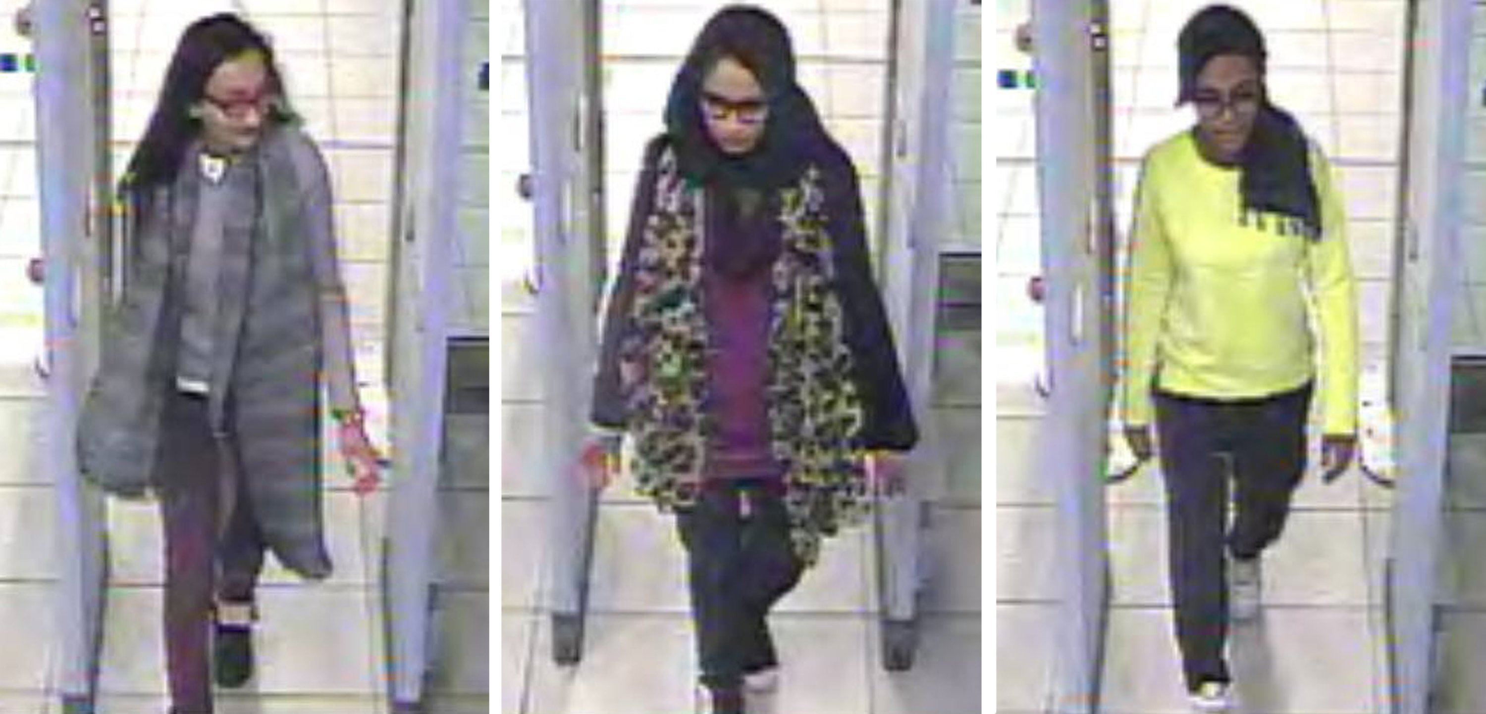 A three image combo of stills taken from CCTV issued by the Metropolitan Police shows Kadiza Sultana (L), Shamima Begum (C) and Amira Abase going through security at Gatwick airport, Crawley, the U.K. before they caught their flight to Turkey, Feb. 23, 2015. (AP Photo)