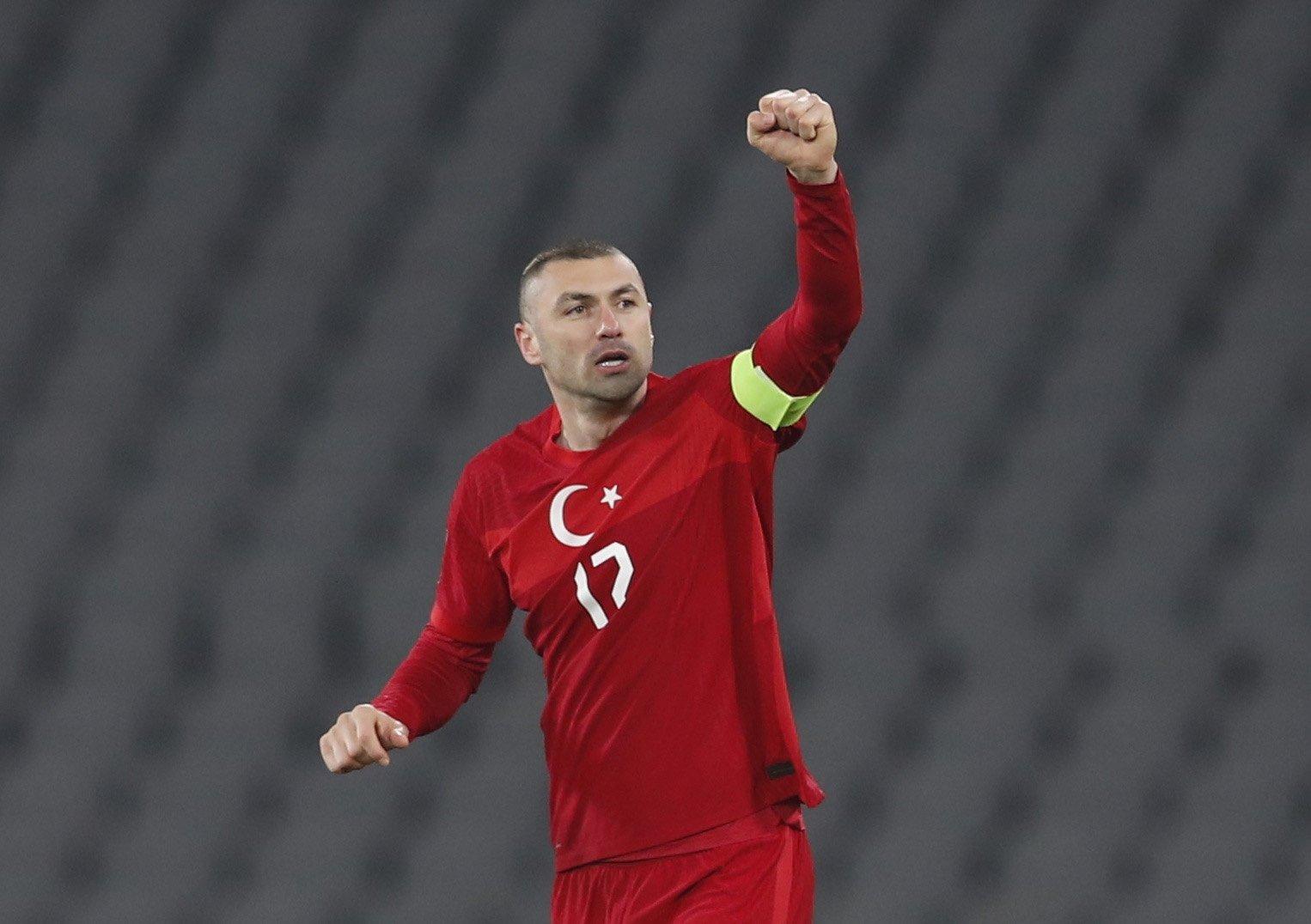 Turkey striker Burak Yılmaz celebrates scoring a goal in World Cup qualification Group G football match between Turkey and Latvia at the Atatürk Olympic Stadium in Istanbul, March 30, 2021. (Reuters Photo)