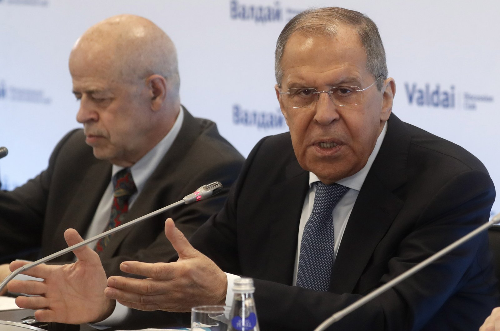 Russian Foreign Minister Sergey Lavrov (R) attends a special session during the Middle East Conference of the Valdai Discussion Club in Moscow, Russia, March 31, 2021. (EPA Photo)