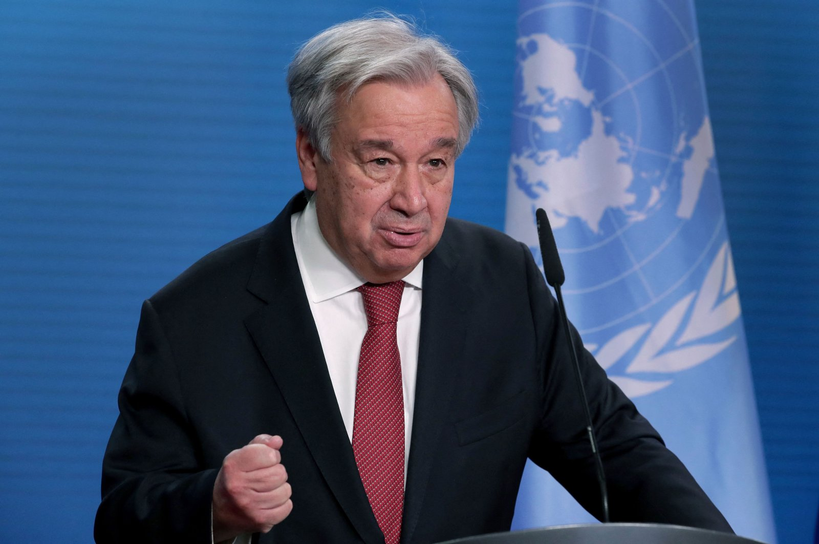 U.N. Secretary-General Antonio Guterres attends a joint press conference after a meeting in Berlin, Germany, Dec. 17, 2020. (AFP Photo)