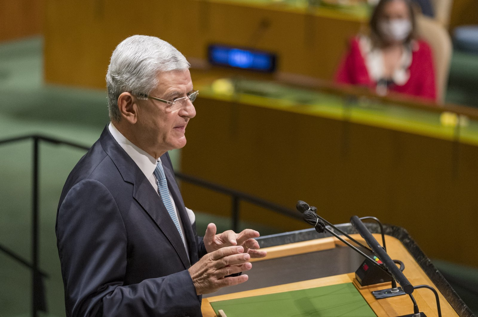 In this photo provided by the United Nations, Volkan Bozkır, president of the 75th session of the United Nations General Assembly, speaks at U.N. Headquarters in New York, U.S., Sept. 22, 2020. (AP File Photo)