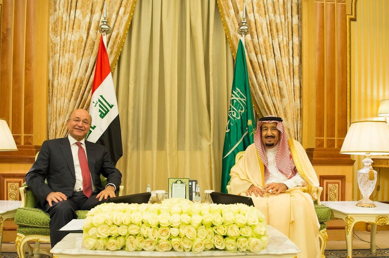 Saudi Arabia's King Salman bin Abdulaziz Al Saud meets with Iraqi Prime Minister Mustafa Al-Kadhimi, in Riyadh, Saudi Arabia, March 31, 2021. (Reuters Photo)