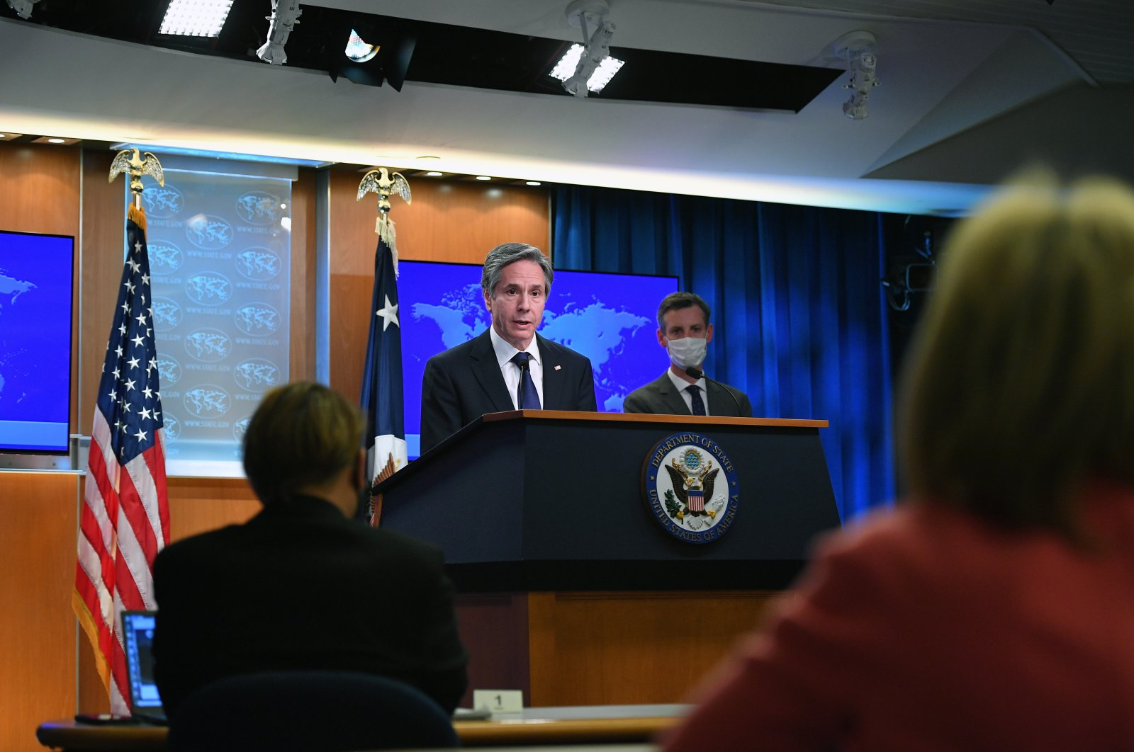 """U.S. Secretary of State Antony Blinken speaks about the release of the """"2020 Country Reports on Human Rights Practices,"""" at the State Department in Washington, U.S., March 30, 2021. (AP Photo)"""
