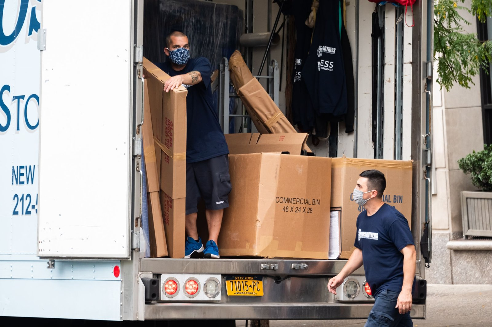 Movers unload a truck in Union Square as the city continues Phase 4 of re-opening following restrictions imposed to slow the spread of coronavirus on September 29, 2020, in New York City. (Getty Images)