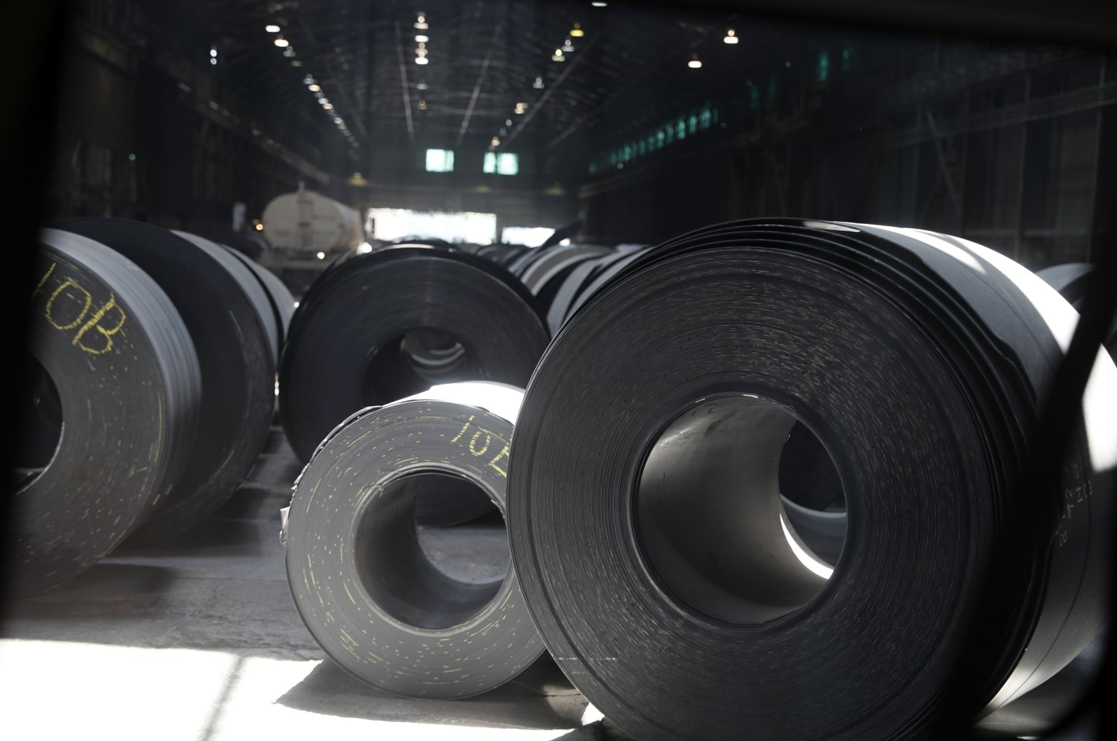 Rolls of finished steel at the U.S. Steel Granite City Works facility in Granite City, Illinois, U.S., June 28, 2018. (AP Photo)