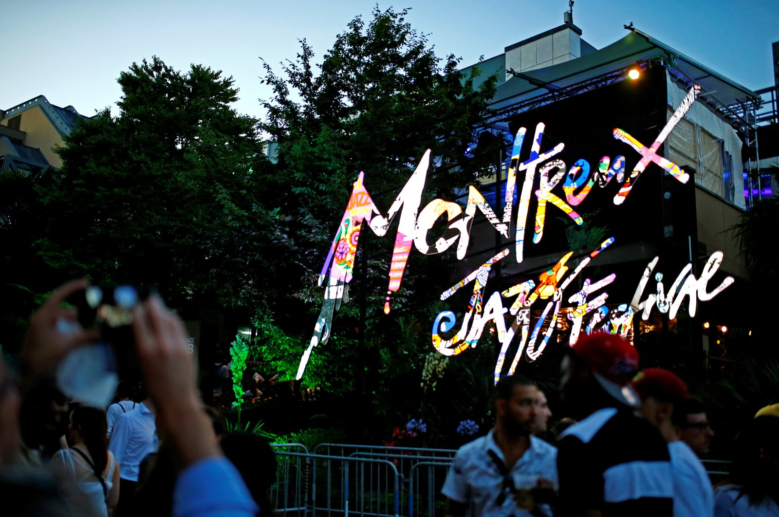 The logo of Montreux Jazz Festival is seen outside the Auditorium Stravinski during the 51st Montreux Jazz Festival in Montreux, Switzerland, July 5, 2017. (REUTERS Photo)