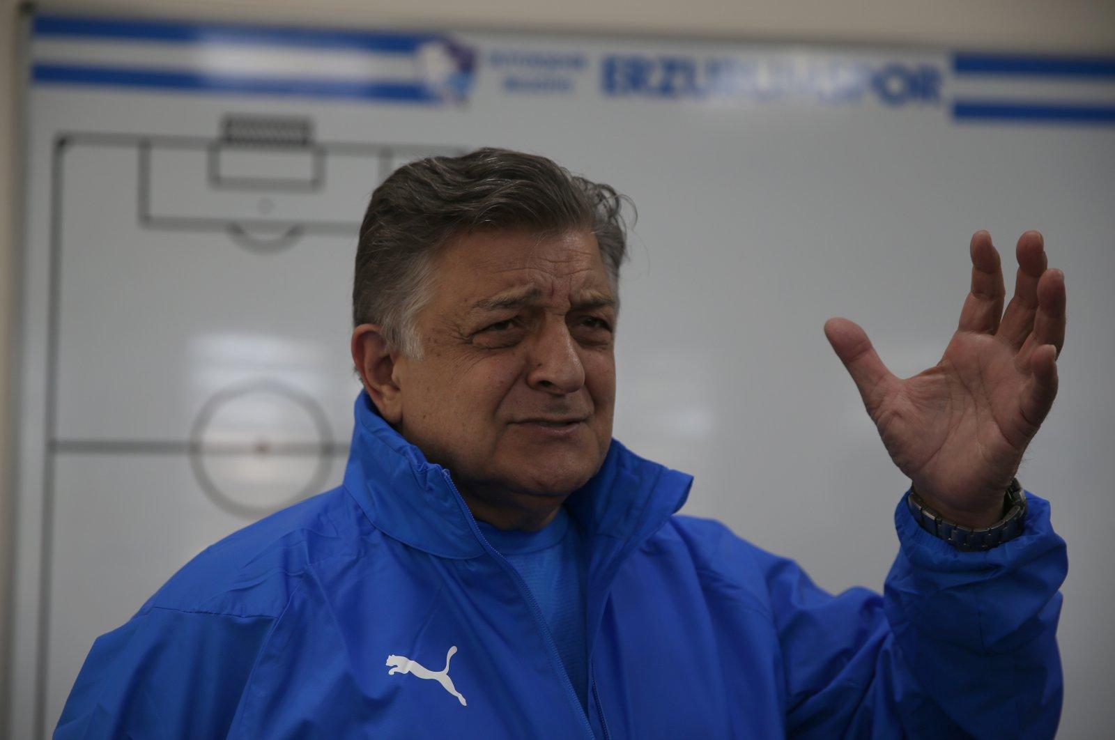 Turkish Süper Lig side Erzurumspor's newly appointed coach Yılmaz Vural speaks during an interview, Erzurum, eastern Turkey, March 31, 2021 (AA Photo)