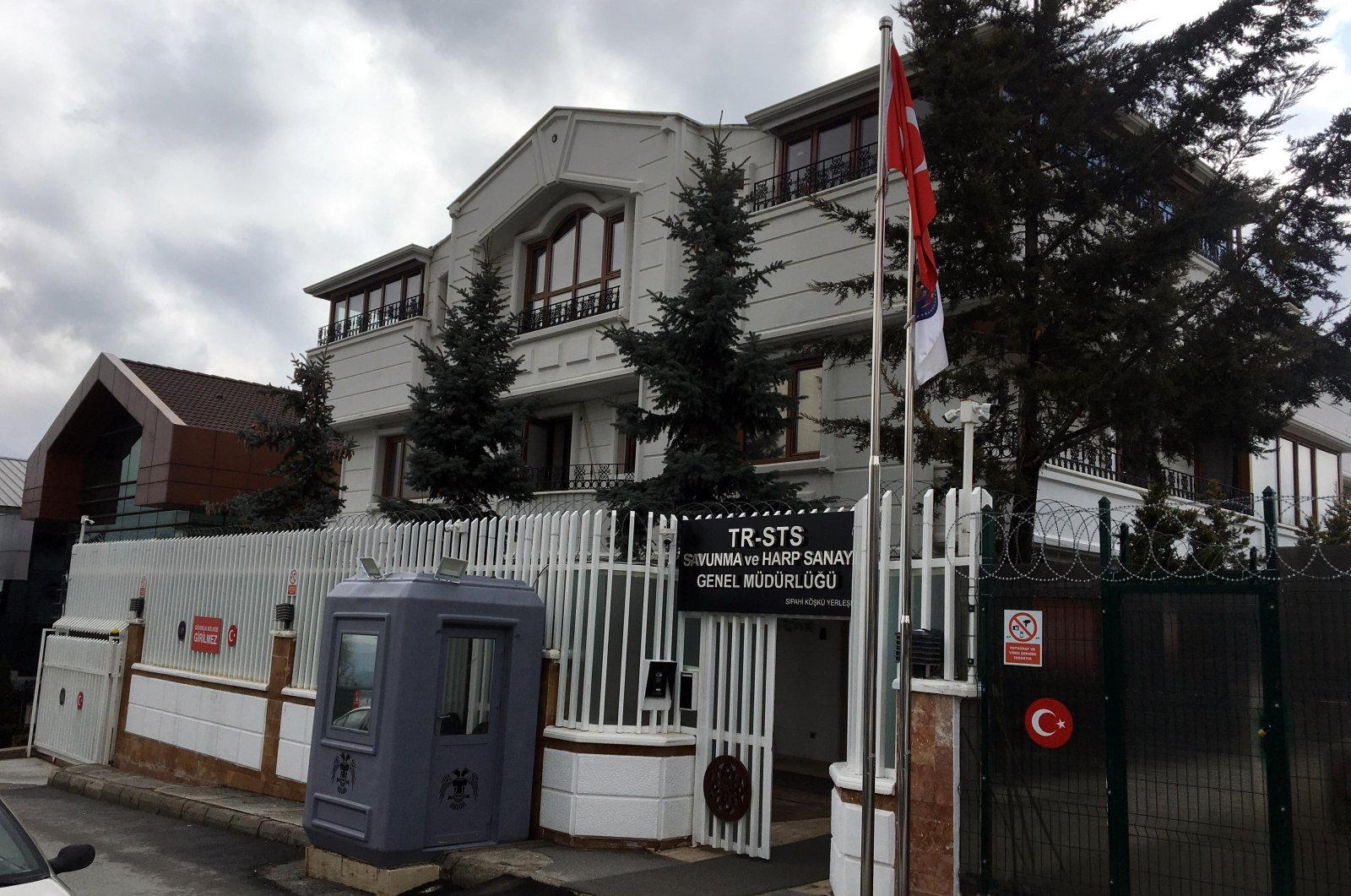 The building used by the criminal organization under the company name TR-STS Defense and War Industry General Directorate, Ankara, Turkey, April 1, 2021. (DHA Photo)