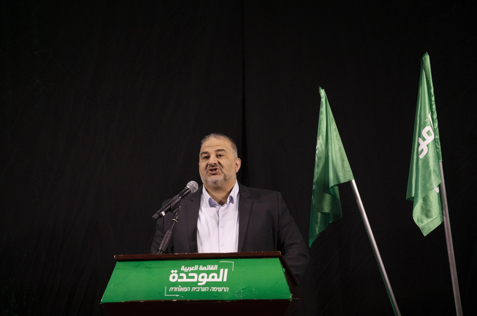Mansour Abbas, leader of the United Arab List, also known by the Hebrew name Ra'am, delivers a statement in Nazareth, Israel, Thursday, April 1, 2021. (AP Photo)