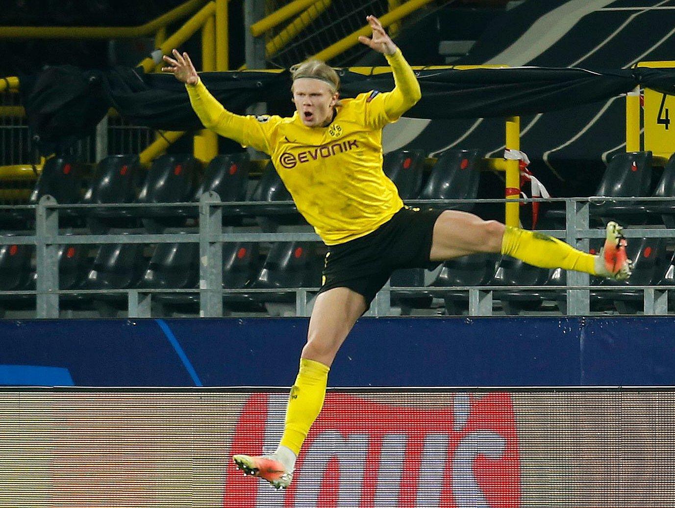 Borussia Dortmund's Erling Braut Haaland celebrates scoring against Sevilla at Signal Iduna Park, Dortmund, Germany, March 9, 2021. (Reuters Photo)