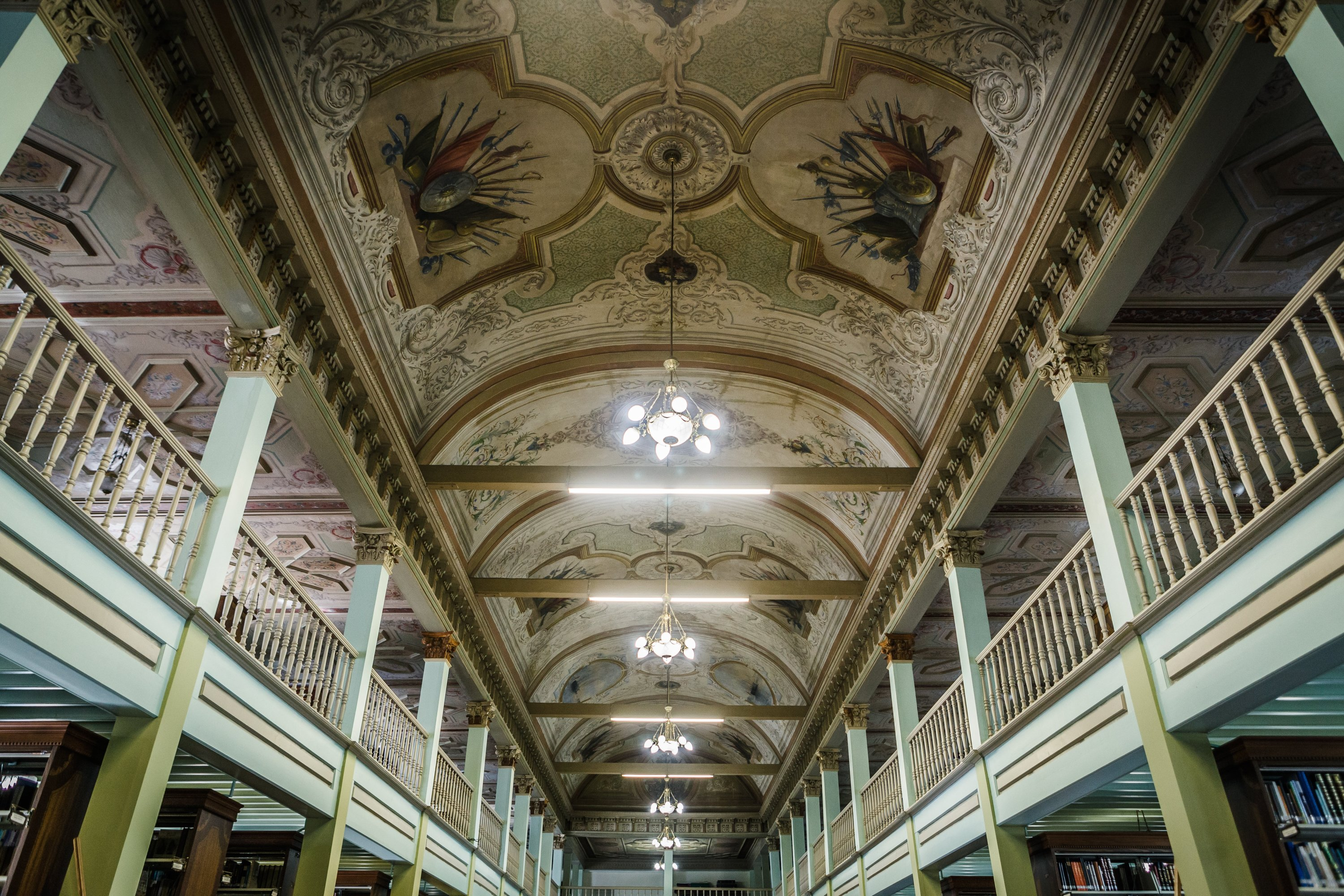 An interior view shows the ceiling of IRCICA, Istanbul, May 16, 2017. (Photo by RECAI KÖMÜR)
