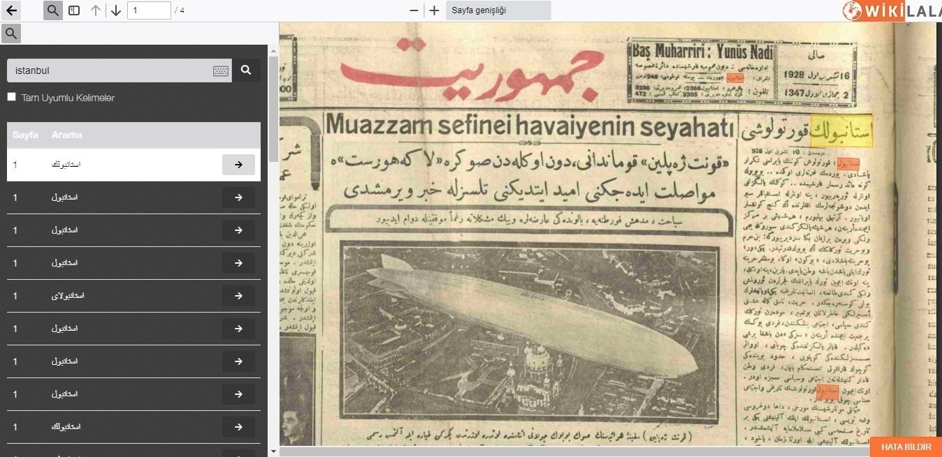 """A screenshot from the website """"WikiLala"""" shows the front page of the Ottoman newspaper Cumhuriyet, with the keyword 'Istanbul' highlighted, in an issue from 1928, obtained on Feb. 19, 2021. (AA Photo)"""