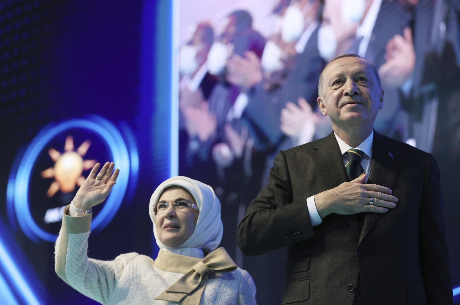 First lady Emine Erdoğan (L) and President Recep Tayyip Erdoğan acknowledge his supporters during the Justice and Development Party's (AK Party) congress, Ankara, Turkey, March 24, 2021. (AP Photo)