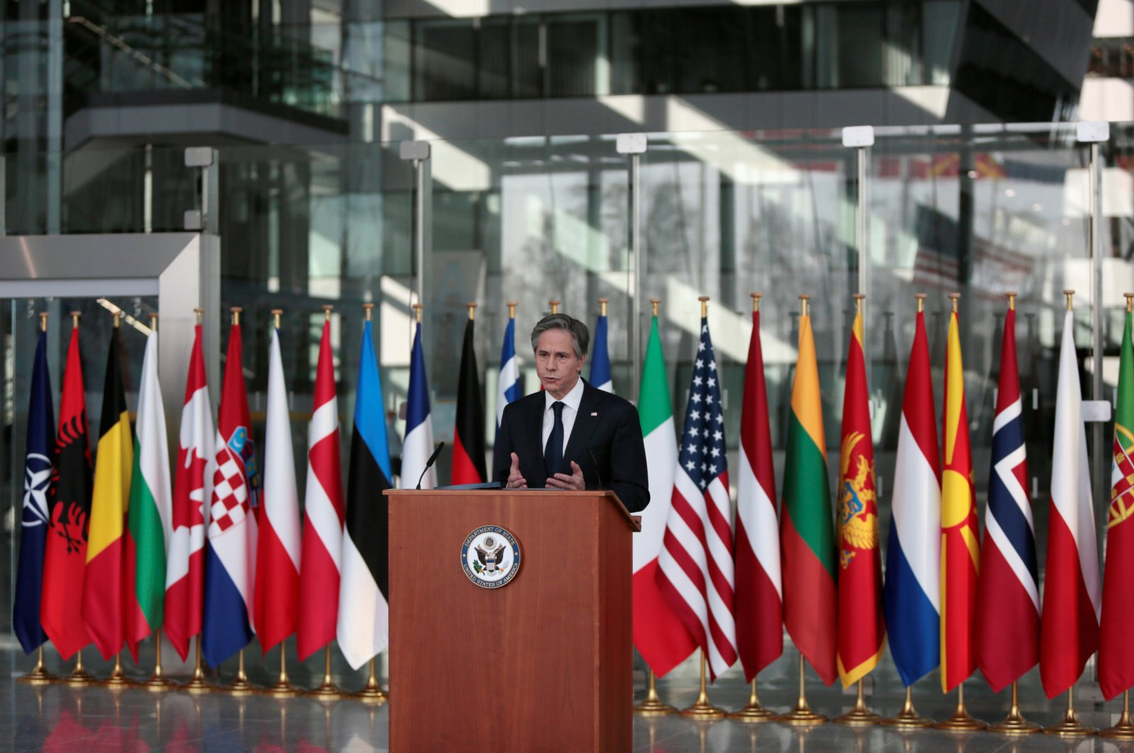 U.S. Secretary of State Antony Blinken delivers a speech after a meeting of NATO foreign ministers at NATO headquarters in Brussels, Belgium, March 24, 2021. (Reuters Photo)