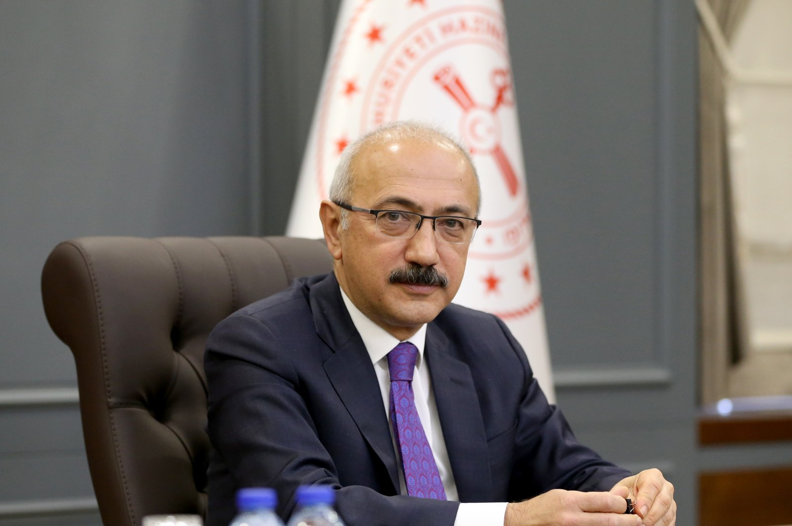 Treasury and Finance Minister Lütfi Elvan prepares to have a videoconference with EU envoys at the ministry's headquarters in Ankara, Apr. 2, 2021. (AA Photo)