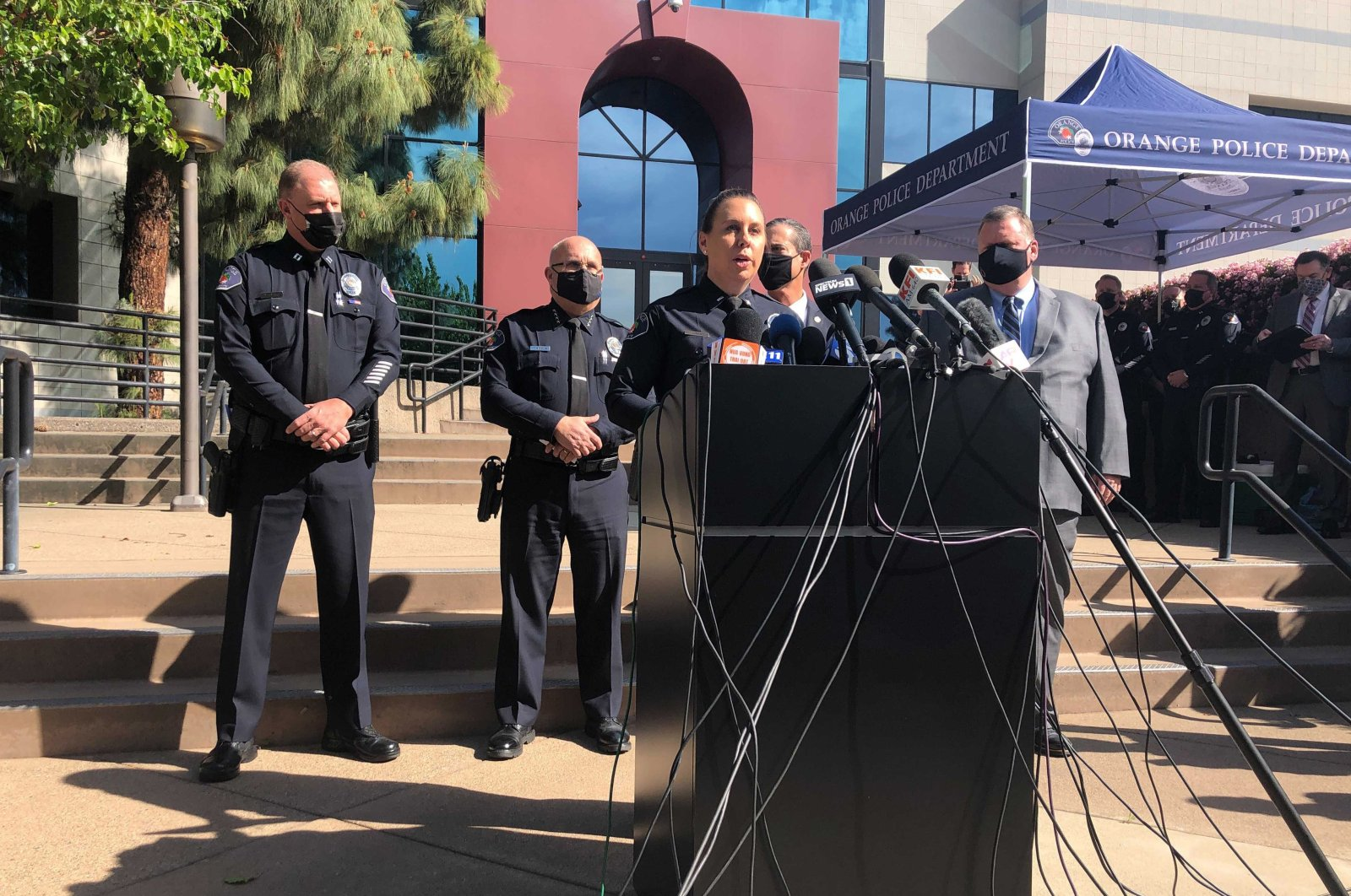 Police Lt. Jennifer Amat talks during a news conference at the Orange Police Department headquarters in Orange, Calif., April 1, 2021. (AP Photo)