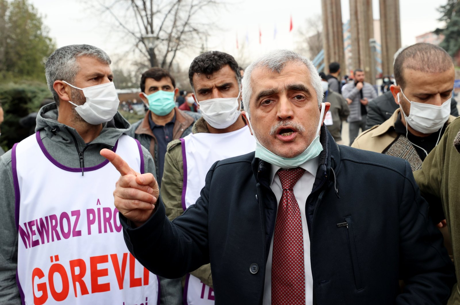Former lawmaker Ömer Faruk Gergerlioğlu speaks after being denied entry by security forces to an event organized by HDP in Turkey's capital Ankara, Mar. 21, 2021 (AA Photo)