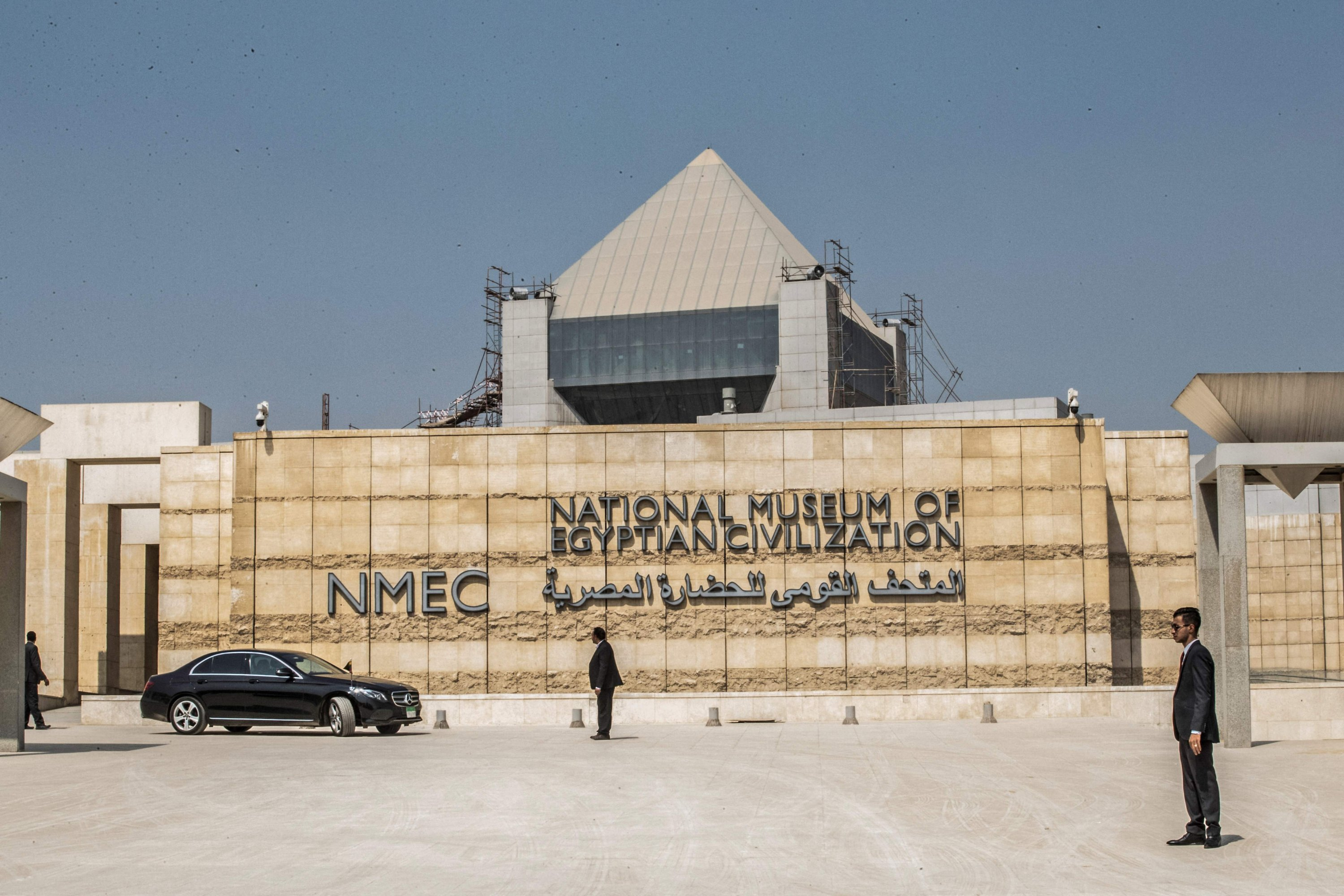 The entrance to the National Museum of Egyptian Civilization in Cairo, Egypt, Oct. 1, 2019. (Photo by Khaled DESOUKI / AFP)