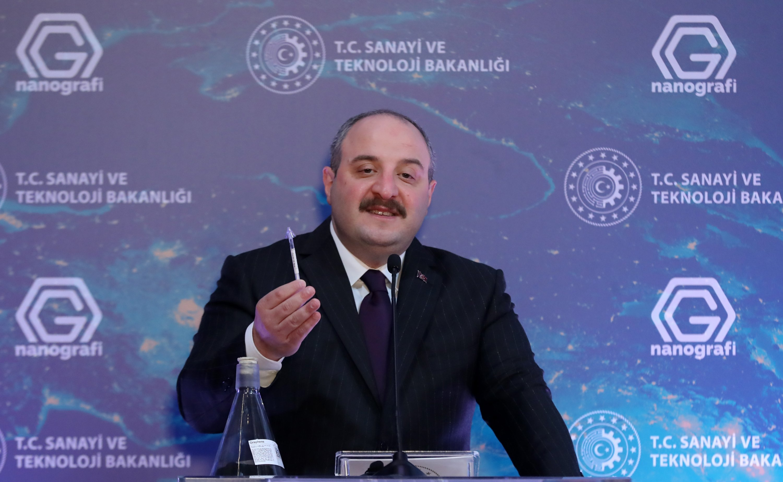 Industry and Technology Minister Mustafa Varank attends the opening ceremony of Nanografi's graphene mass-production plant in Ivedik, Ankara, Turkey, March 30, 2021. (Ministry of Industry and Technology - Anadolu Agency)