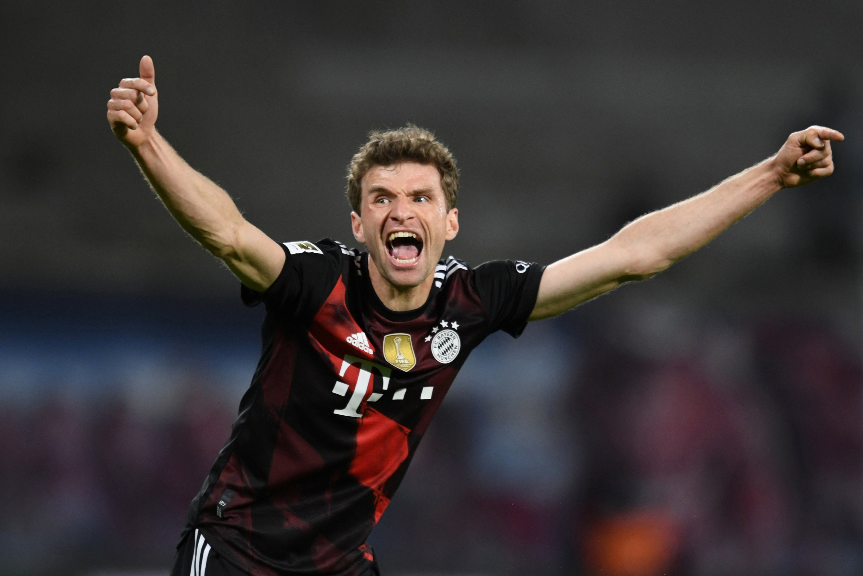 Bayern Munich's Thomas Muller reacts after Leon Goretzka's goal against RB Leipzig, Leipzig, Germany, April 03, 2021. (Annegret Hilse/Pool/DFL via Reuters)