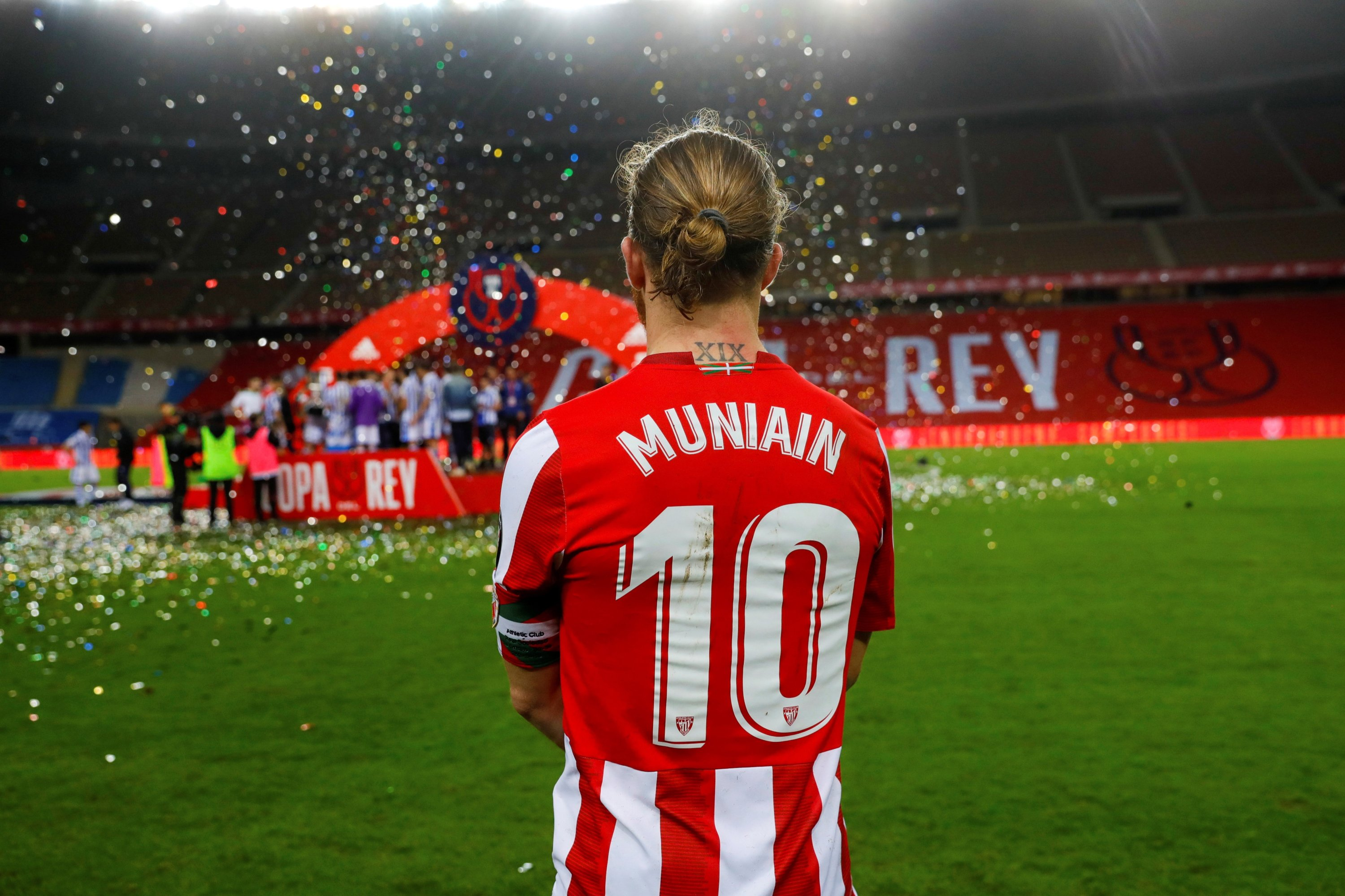 A handout photo made available by the Spanish Royal Soccer Federation (RFEF) shows Athletic Club's captain Iker Muniain watching Real Sociedad's celebrations at the end of 2020 Copa Del Rey final match against Athletic Bilbao at La Cartuja stadium in Seville, Andalusia, Spain, April 03, 2921. (RFEF via EPA)