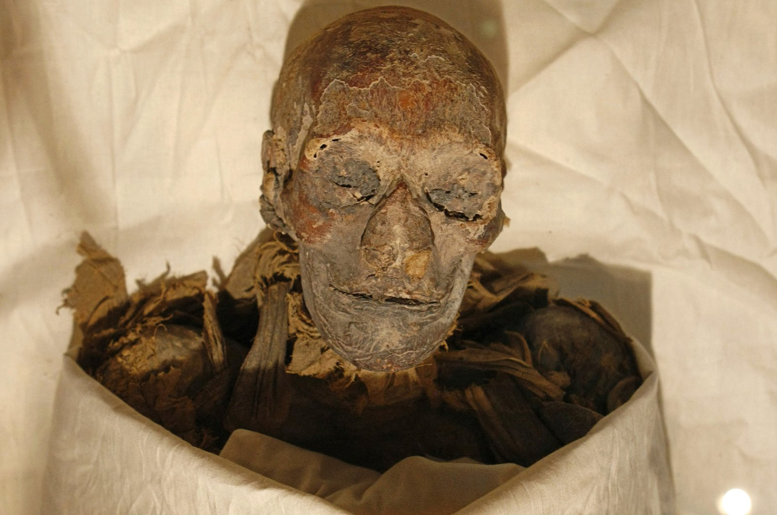 The mummified remains of Queen Hatshepsut, ancient Egypt's most famous female pharaoh, lie in a glass case after being unveiled at the Cairo Museum in Cairo, Egypt, June 27, 2007. (Photo by Cris BOURONCLE / AFP)